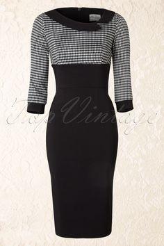 The Pretty Dress Company - Black Mistress Houndstooth Vintage Pencil dress