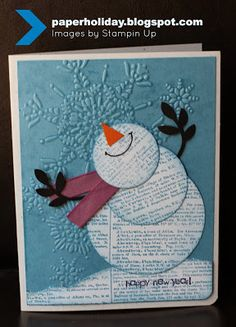 ADORABLE--Stampin up happy snowman card for Christmas
