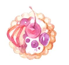 One of the watercolor illustrations for my new sticker sheet (sweets, desserts, cake... I got really hungry while painting, believe me!) for planners, journals or to decorate sweet gifts.