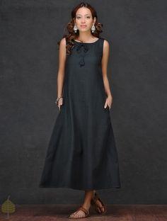 Black Front Tie-up Cotton Dress by Jaypore
