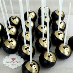 Gold and Black Tuxedo cake pops