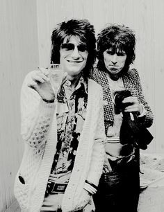 Ronnie Wood and Keith Richards at a reception for producer Phil Spector, 4th October 1974. © Michael Putland.