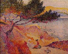 """Henri-Edmond CROSS (1856-1910), """"La Plage de Saint-Clair""""  oil on canvas 64 cm x 80 cm  - Painted in 1906-1907  - Collection: Saint-Tropez, musée de l'Annonciade"""