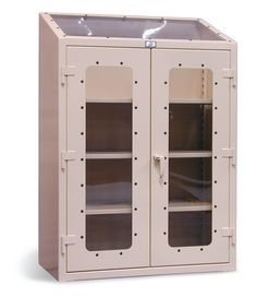 Skylight View Cabinet - 12 gauge heavy duty cabinet with see-thru doors and top window for added light. Adjustable shelves to store your items and a 3-point locking system to keep them secure.