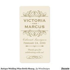 Antique Wedding Wine Bottle Monogram Favor Labels