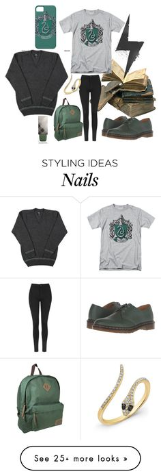 """Slytherin"" by chantal-07 on Polyvore featuring Topshop, Anne Sisteron, Dr. Martens, Dickies, Burberry, harrypotter, potterhead, slytherin, hogwarts and GREEN"