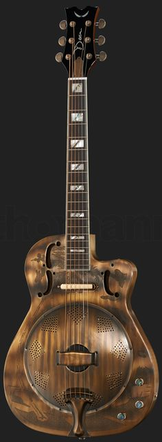 "Dean ""antique bronzed finish"" Resonator Guitar --- https://www.pinterest.com/lardyfatboy/"