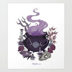 illustration, witchcraft, witch, bones, magic