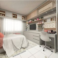 Beautiful girl's room inspiration The wall opposite the bed houses space for tv studies and make up. The air conditioning was camouflaged by a Room Design Bedroom, Girl Bedroom Designs, Room Ideas Bedroom, Home Room Design, Small Room Bedroom, Home Decor Bedroom, Dream Rooms, Dream Bedroom, Teen Room Decor