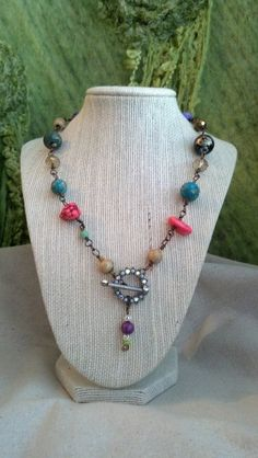 Crystal Toggle Necklace by BlondeJusticeDesigns on Etsy, $39.00