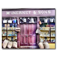 A traditional Irish shop front - McInerney & Sons store at Bunratty Folk Park in Co. Clare Ireland, Shop Fronts, Irish Traditions, Stuff To Do, Traditional, Book Shops, Shopping, Restaurants, Buildings