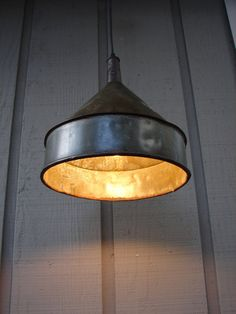 Vintage Farm funnel pendant light!  Want one!
