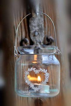 windlichtje met hart - kaars - candle
