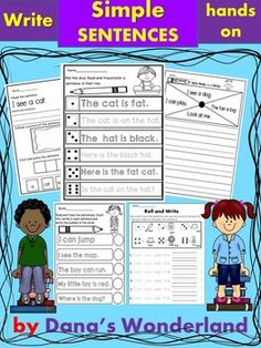 Writing Simple Sentences - Do you have students who need to learn how to write sentences,and not only words?Do you have students who need to learn to begin a sentence with a capital letter,leave space between the words, and end with a punctuation mark?This pack can help.It contains engaging hands on activities that will change the boring task of writing sentences into a game.Included you'll find about 60 pages of writing practice.NO PREP!The pack works with pre-primer and primer sight…