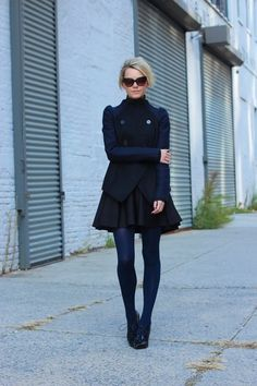 pretaportre:    New York residentBlair Eadie of Atlantic-Pacific in 'Black/Navy'wearing Blaque Label skirt, Martin + Osa turtleneck, Carven jacket, American Apparel tights, Tory Burch shoes, and Dior sunnies.