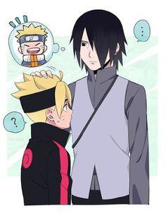 Boruto reminds Sasuke of Naruto. Naruto And Sasuke, Anime Naruto, Naruto Comic, Naruto Cute, Naruto Shippuden Sasuke, Manga Anime, Kakashi, Sasunaru, Himawari Boruto