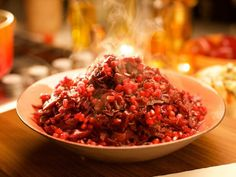 Nigella Lawson's Thanksgiving Red Cabbage with Pomegranate Juice Recipe from Food Network Food Network Thanksgiving, Thanksgiving Sides, Thanksgiving Recipes, Fall Recipes, Bean Recipes, Holiday Recipes, Holiday Ideas, Soup Recipes, Kitchens