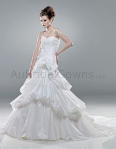 Taffeta Sweetheart Asymmetrical Side Draped Bodice Mermaid Wedding Dress