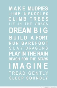 Make mud pies jump in puddles climb trees lie in the grass dream big build a fort run barefoot slay dragons play in the rain reach for the stars imagine