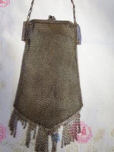 Antique Whiting & Davis Silver Signed Mesh Purse Bag Vintage by MYBRICKHOUSE on Etsy