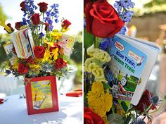 Centerpieces in primary colors with storybook vases