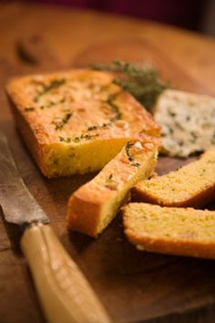 Polenta Bread with Thyme & Pine Nuts