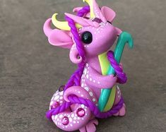 Handmade from high quality polymer clay, artist's mark on the bottom, inches Polymer Clay Dragon, Polymer Clay Figures, Polymer Clay Animals, Cute Polymer Clay, Cute Clay, Polymer Clay Charms, Diy Clay, Clay Crafts, Clay Art Projects