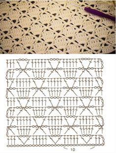 Filet Crochet, Débardeurs Au Crochet, Crochet Stitches Chart, Crochet Motifs, Crochet Square Patterns, Crochet Diagram, Crochet Basics, Crochet Blanket Patterns, Baby Blanket Crochet