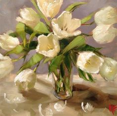 Tulip Blanca - Original Fine Art for Sale - © Krista Eaton