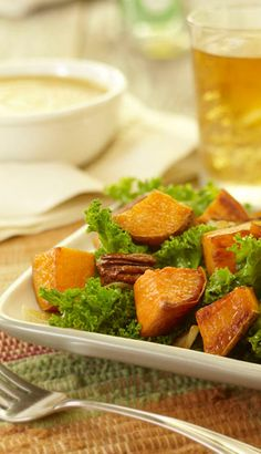 Salade chaude de patate douce et chou frisé