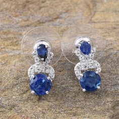 Himalayan Kyanite and White Topaz Earrings in Platinum Overlay Sterling Silver (Nickel Free)