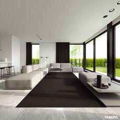 Single family house interior by Tamizo Architects Minimalist Interior, Modern Interior Design, Interior Architecture, Interior And Exterior, Living Room Interior, Home Living Room, Living Room Designs, Tamizo Architects, White Houses