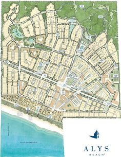 Navigate the town map of Alys Beach, a luxury coastal community on the Florida Panhandle. City Skylines Game, Parque Industrial, New Urbanism, Urban Fabric, Fort Walton Beach, Beach Town, Beach House, Master Plan, Architecture Plan