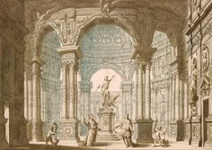 Giuseppe Galli Bibiena | 1696-1757 | Design for a Stage Set with Figure of Jupiter on Pedestal in a Rotunda | The Morgan Library & Museum