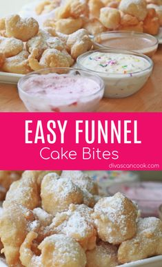 Easy Funnel Cake Bites Recipe Toppings Crisp On The Outside Fluffy On the Inside Köstliche Desserts, Delicious Desserts, Yummy Food, Easy Desserts To Bake, Easy Dessert Recipies, Easy Things To Bake, Deep Fried Desserts, Deep Fried Oreos, Easy Sweets