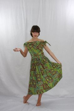 1950's Vintage Island Dress  Lime Green  Hawaiian Tiki Novelty Print by VintageFrocksOfFancy