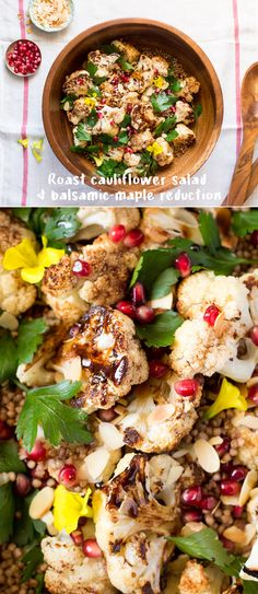 Addictive-ly delicious #roast #cauliflower salad with #balsamic #maple #reduction. It's naturally #vegan and #glutenfree ----------------------------------------------------- #recipe #recipes #appetizer #vegetarian #buckwheat #lunch #dinner #healthy