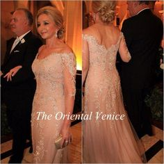 Champagne Lace Mother of the Bride Dresses with Long Sleeves vestidos madre de la novia 2016 Crystal Beading Appliques Mermaid Evening Dress