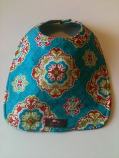 Baby Bib  Aqua Orange Medallion 10 x 12.5 by Essiedesigns on Etsy