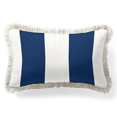 In black (with natural fringe). $69 Outdoor Lumbar Pillow with Fringe