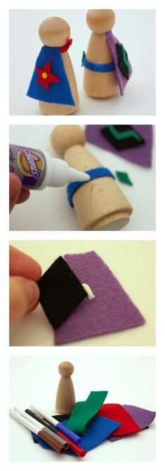 Play Date Idea - Make your own super hero wooden peg dolls