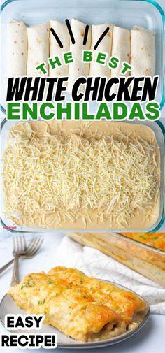 New Recipes, Dinner Recipes, Cooking Recipes, Favorite Recipes, Easy Mexican Food Recipes, Green Chili Recipes, Sauce Recipes, White Chicken Enchiladas, Al Dente