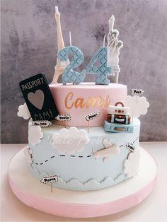 Custom Birthday Cakes, 60th Birthday Cakes, Birthday Cakes For Teens, Beautiful Birthday Cakes, Teen Cakes, Girl Cakes, Birhday Cake, Travel Cake, Quinceanera Cakes