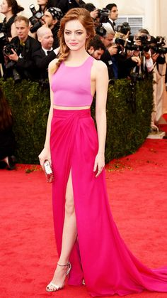 2014 Met Gala Red Carpet - Emma Stone in custom Thakoon, with a Tod's clutch and rings by Graziela Gems, EF Collection, and Red C Jewels.