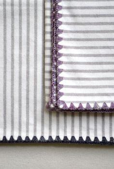 Crochet edging on Flannel blankets
