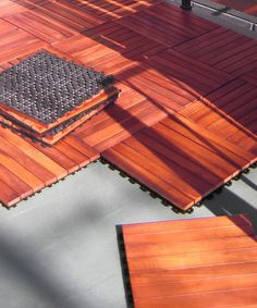 Quickly build a unique outdoor living space by snapping this deck tile together with others without using nails, glue or a hammer. The wood slat design allows water to flow through the cracks, while a lightly raised design elevates it so that air can circulate. Best of all, when the fun in the sun is done, it's easy to take apart and stow away for the next event.