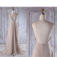 2017 Cream Chiffon Bridesmaid Dress, Deep V Neck Wedding Dress, Lace Beading Wedding Dress, Backless Prom Dress Full Length (L290) by RenzRags on Etsy https://www.etsy.com/au/listing/514857945/2017-cream-chiffon-bridesmaid-dress-deep