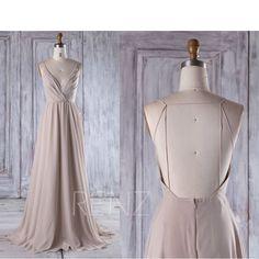 2017 Cream Chiffon Bridesmaid Dress, Deep V Neck Wedding Dress, Lace Beading Wedding Dress, Backless Prom Dress Full Length (L290) by RenzRags on Etsy https://www.etsy.com/au/listing/514857945/2017-cream-chiffon-bridesmaid-dress-deep