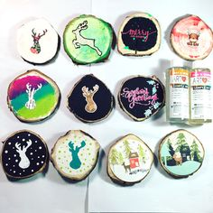 Inky Fairy Designs: DIY Wood Slice Ornaments with Art Resin Crafty Projects, Fun Projects, Wood Crafts, Diy Wood, Wood Slices, Resin, Ornaments, Fairy, Wood Rounds
