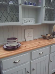 Painted welsh dresser Farrow and Ball Dimpse. Re-loved by Farmhouse Vintage
